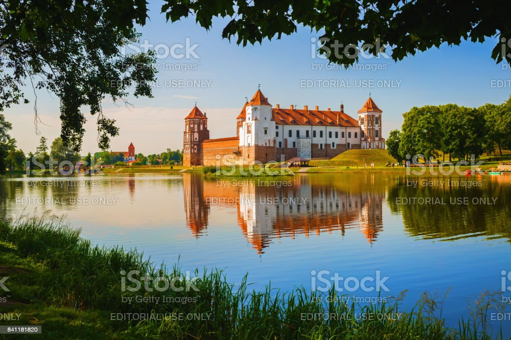Castle on the shore stock photo