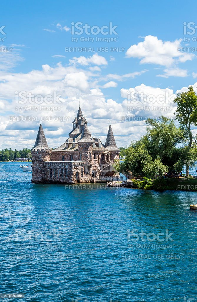 Castle on the water in Canada stock photo