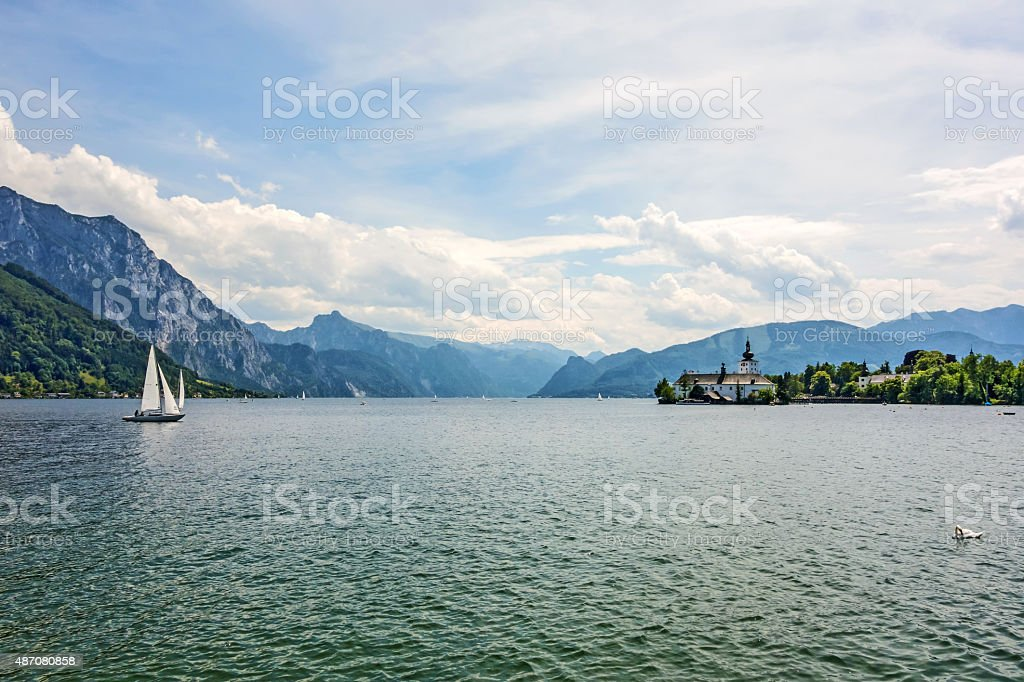 Castle Ort, Gmunden, view from promenade stock photo