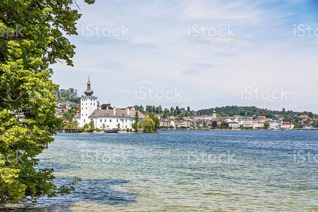 Castle Ort, Gmunden, view from the Toscanapark stock photo