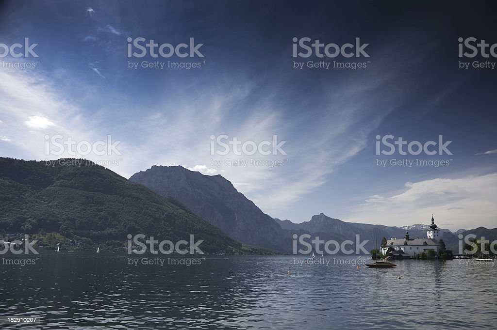 Castle Orth, Lake Traunsee at dusk stock photo