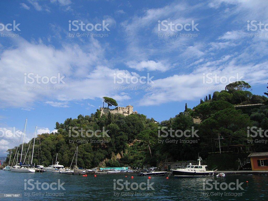 Castle overlooking Portofino 1 royalty-free stock photo