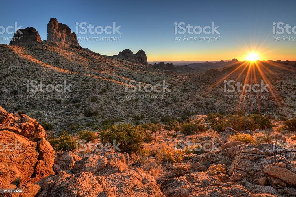 Castle Peaks Sunrise stock photo