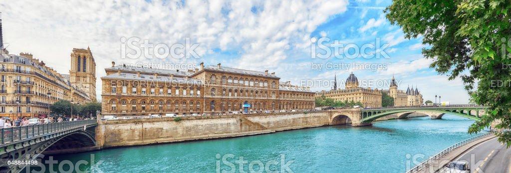 Castle - Prison Concierges and Exchange Bridge on the Seine in Paris. France. stock photo