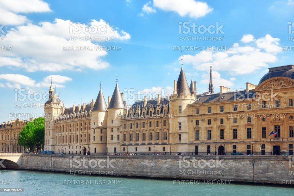 Castle - Prison Concierges seafront of  the Seine  river in Paris. France. stock photo