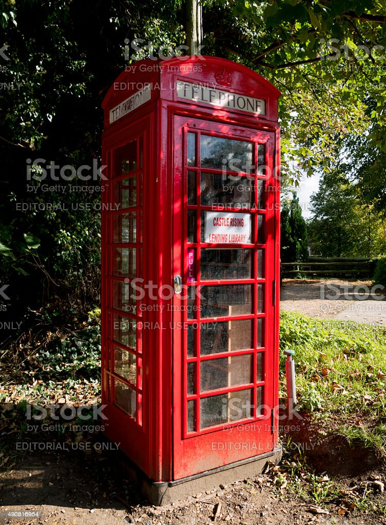 Castle Rising Lending Library in a telephone box stock photo