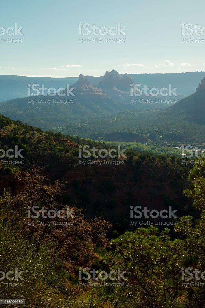 Castle Rock at sunrise, Sedona, AZ stock photo