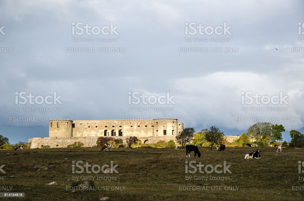 Castle ruin in spotlight stock photo