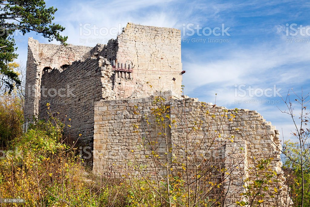 castle ruin Lobdeburg stock photo