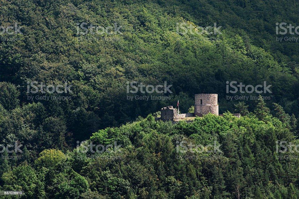 Castle Ruins in Beskid Mountains. Rytro, Poland, 463 masl. stock photo