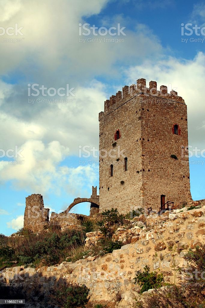 Castle ruins in Sicily royalty-free stock photo