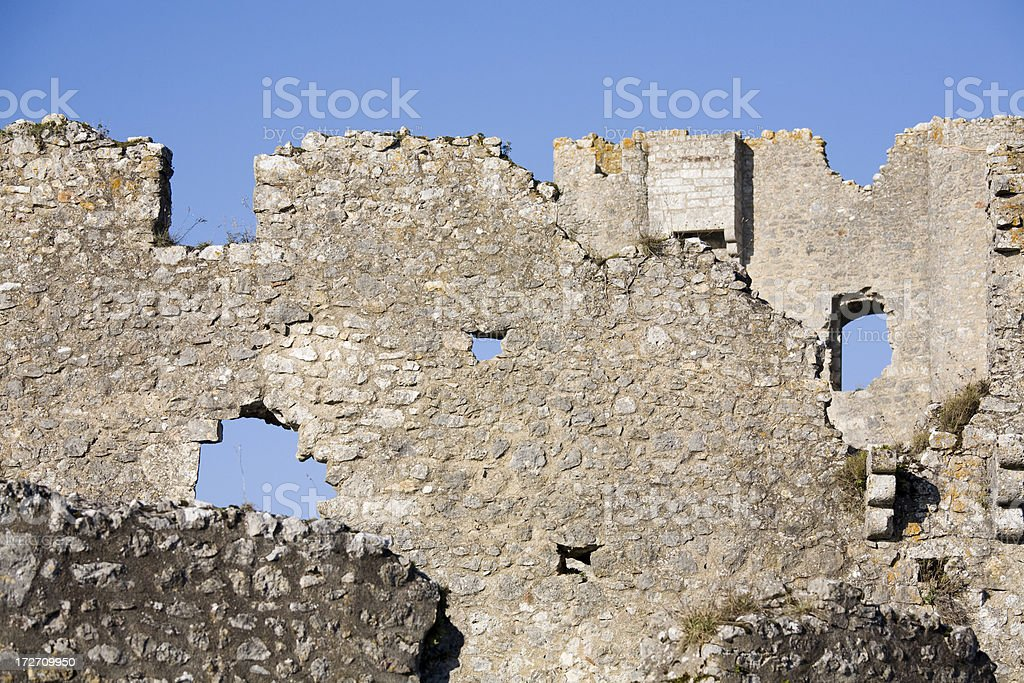 Castle ruins of Angles-sur-l'Anglin, France royalty-free stock photo