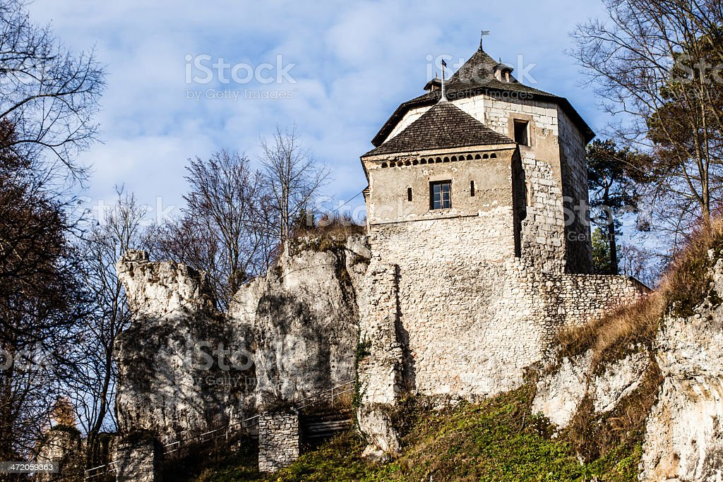 Castle ruins on a hill top in Ojcow, Poland royalty-free stock photo