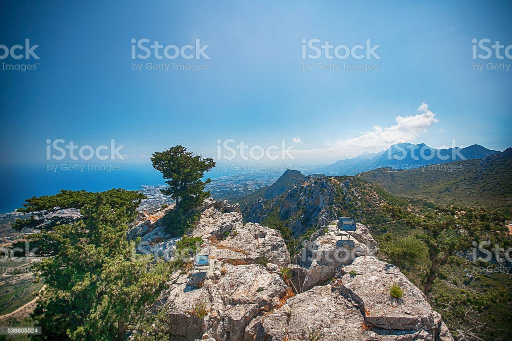 Castle ruins Saint Hilarion , Cyprus . summer rest. vacation, holiday. Holidays stock photo