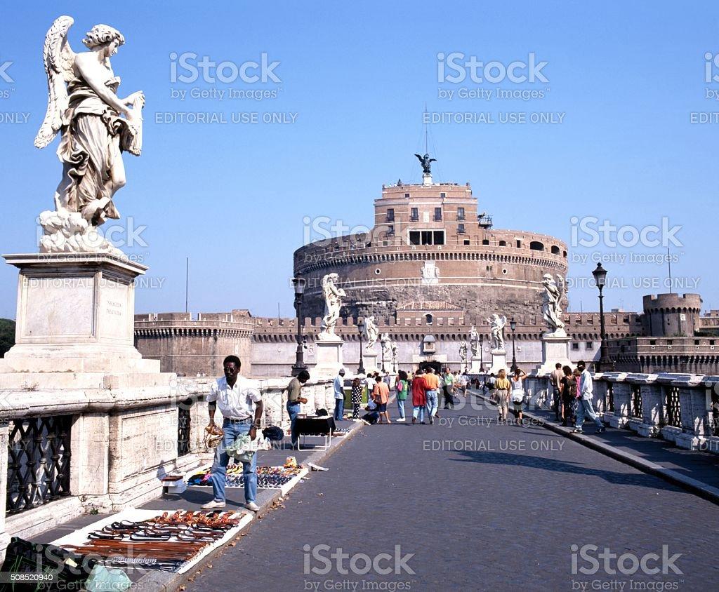 Castle Saint Angelo and bridge, Rome. stock photo
