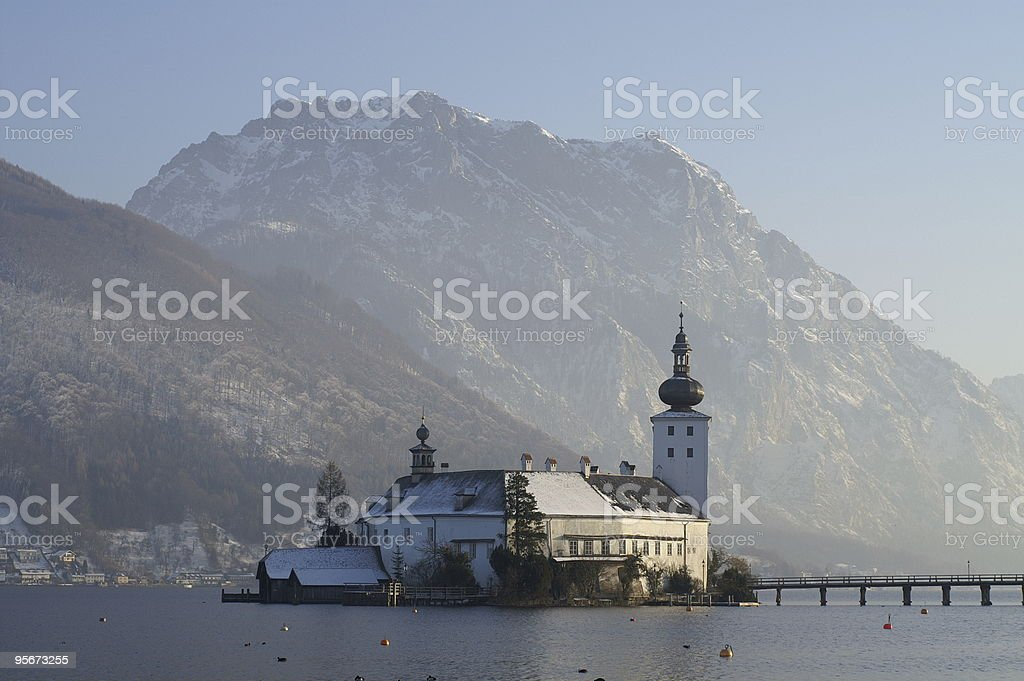Castle Schloss Ort and Traunstein stock photo