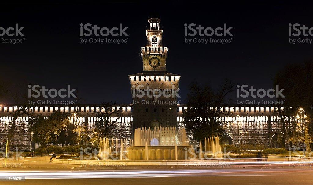 Castle Sforzesco by Night. Color Image stock photo