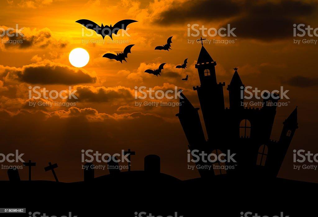 Castle silhouette in Halloween night stock photo