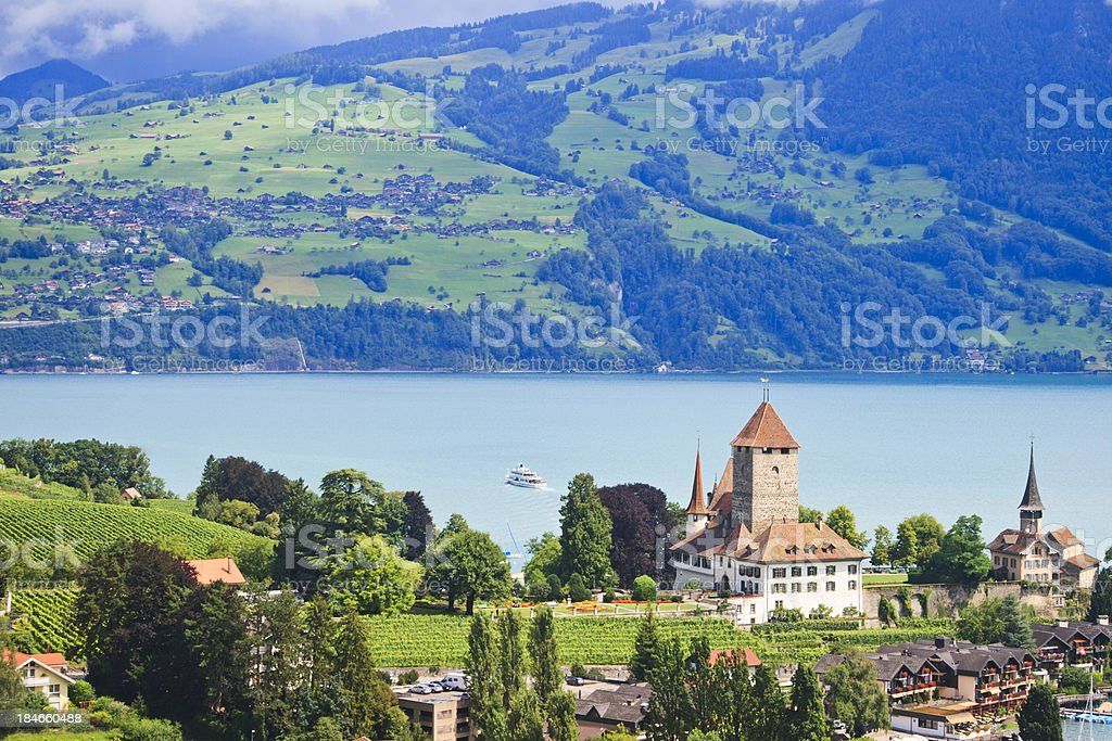 Castle, Spiez, Lake Thun, Berner Oberland, Switzerland stock photo