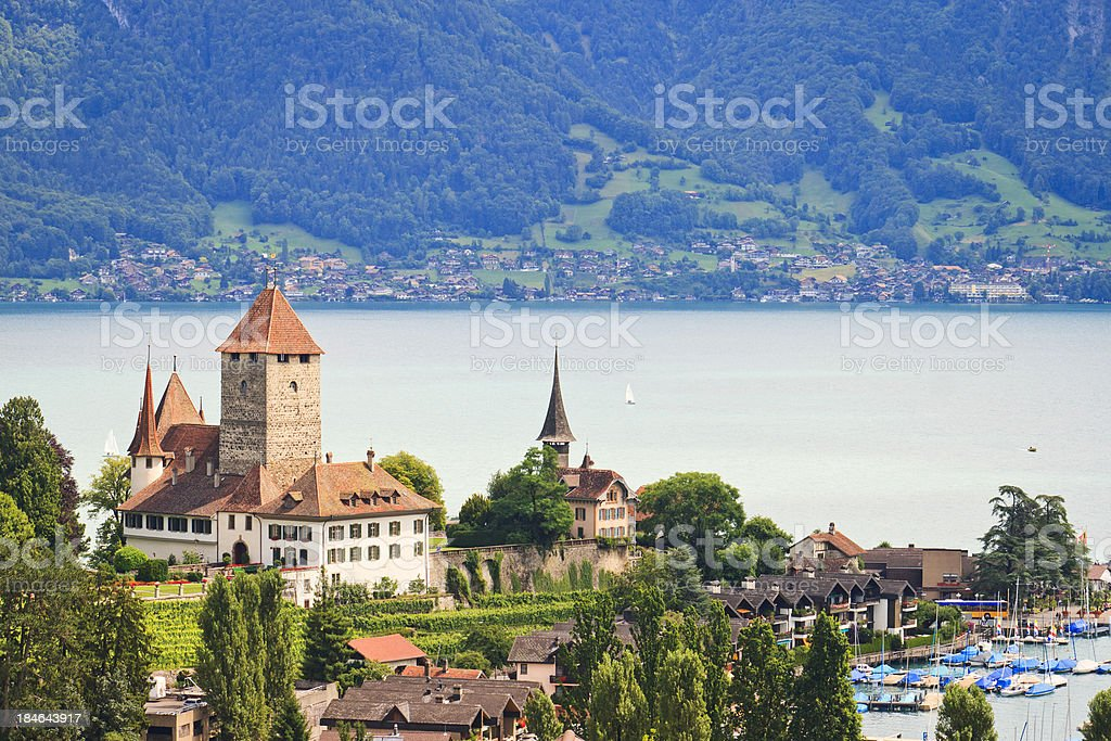 Castle, Spiez, Lake Thun, Berner Oberland, Switzerland royalty-free stock photo