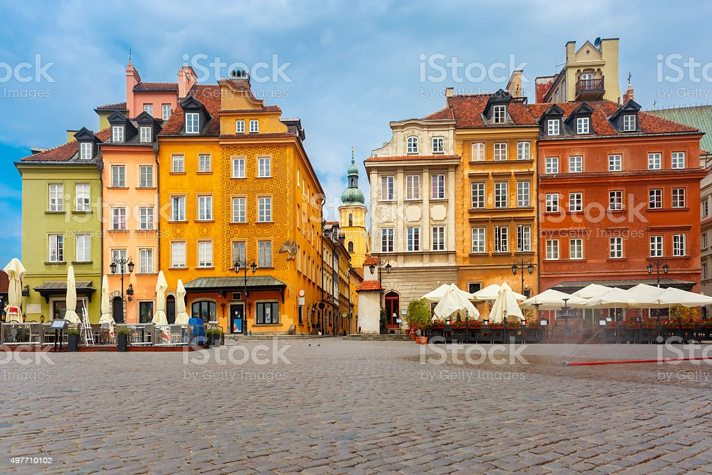 Castle Square in the morning, Warsaw, Poland stock photo