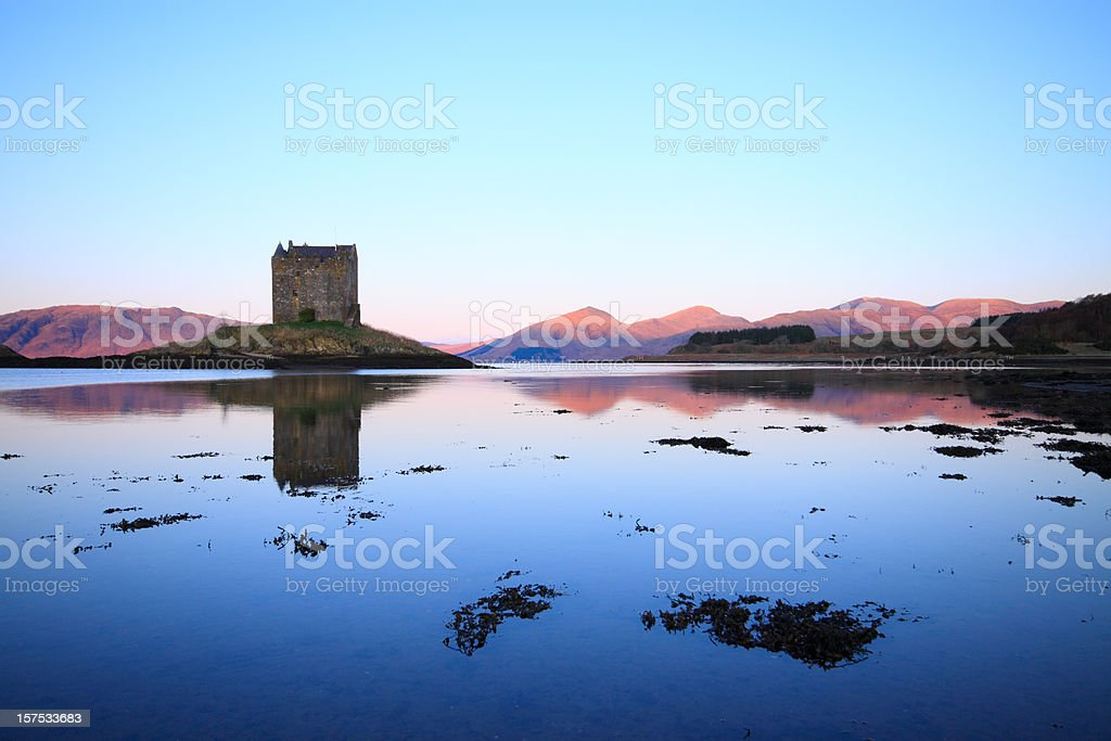 Castle Stalker, Loch Linnhe, Scotland. Idyllic still morning. royalty-free stock photo