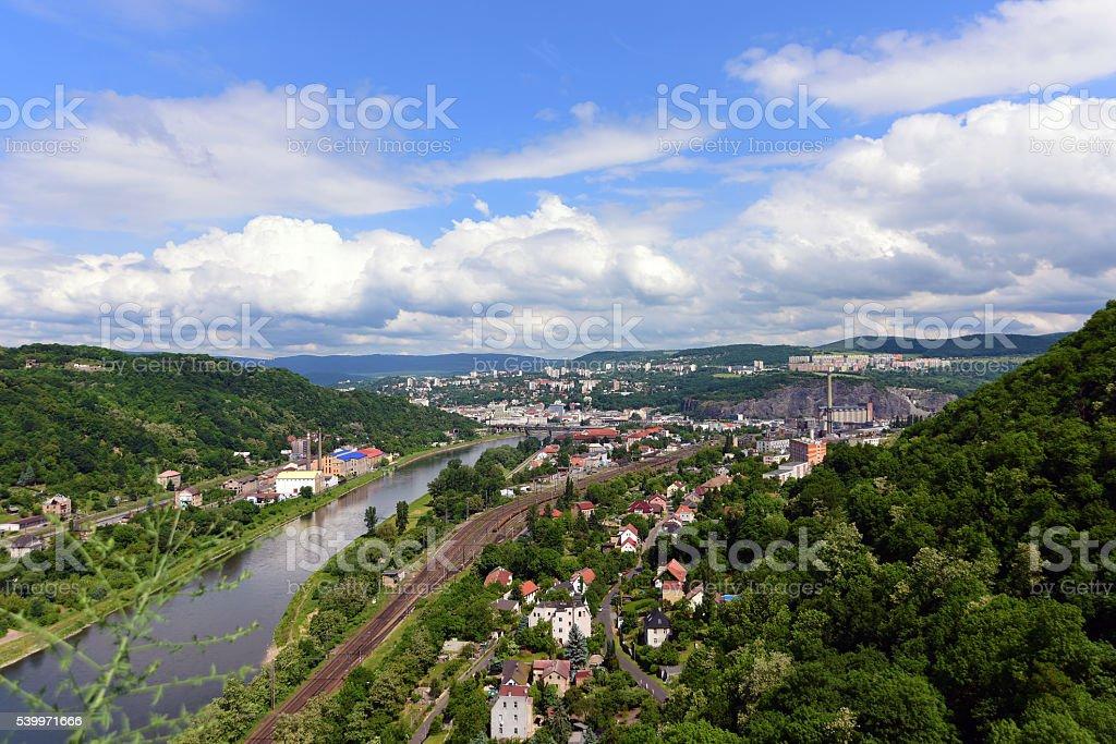 Castle Strekov in valley of river Labe stock photo