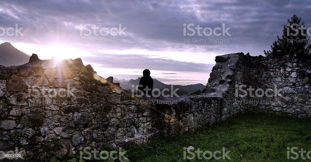 Castle Sunset royalty-free stock photo