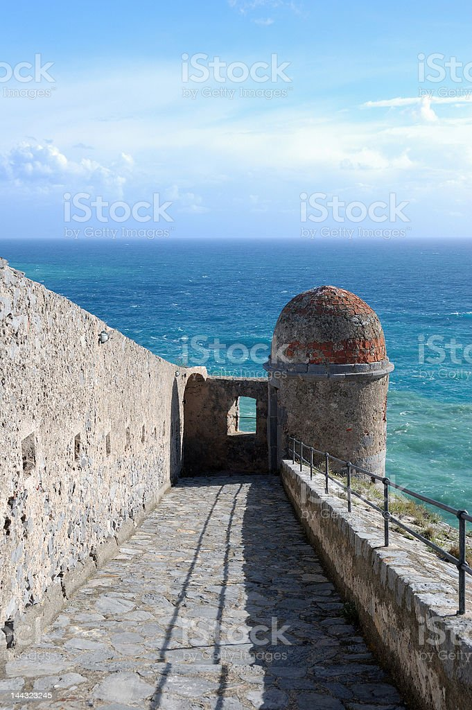 Castle Tower on the Mediterranean Sea stock photo