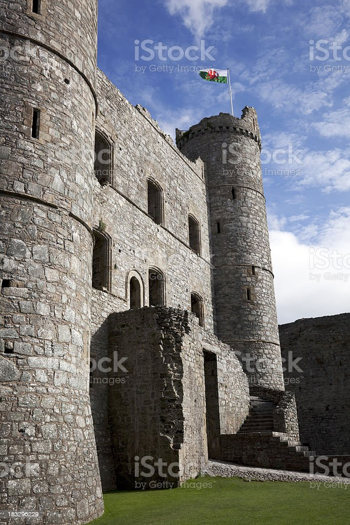 Castle towers and gatehouse stock photo