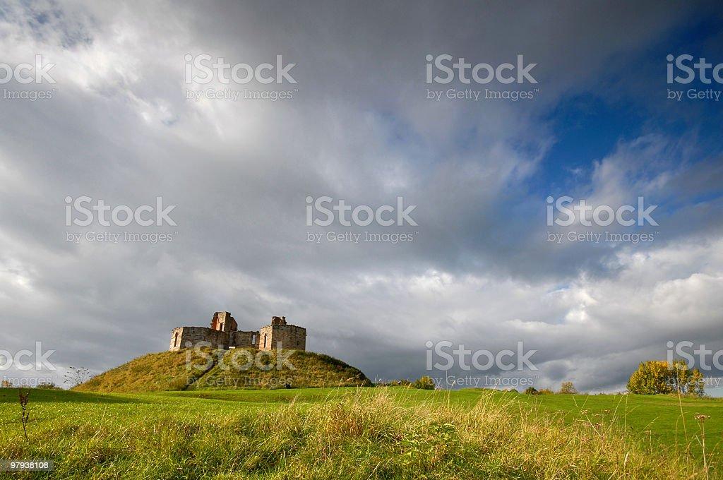 Castle Under Dramatic Sky royalty-free stock photo