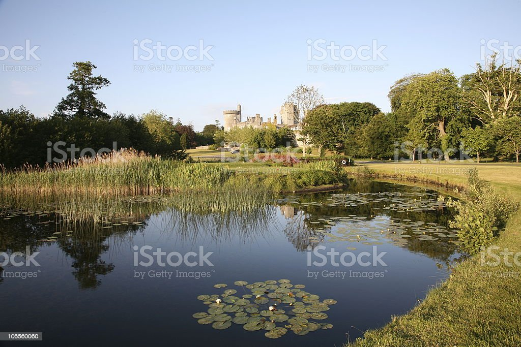 Castle View with Lake stock photo