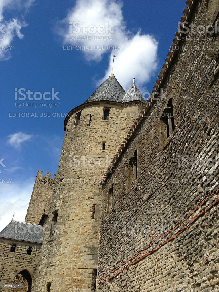 Castle Wall at Carcassonne, France stock photo