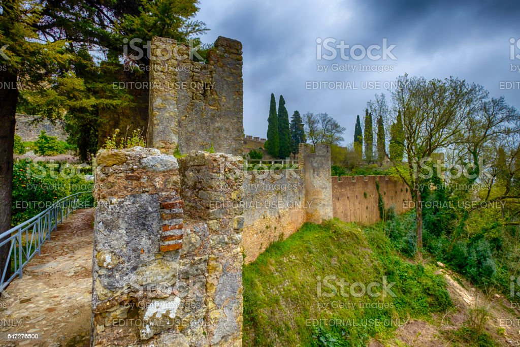 Castle wall in tomar  Portugal stock photo