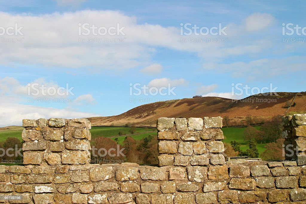 Castle walls and landscape royalty-free stock photo