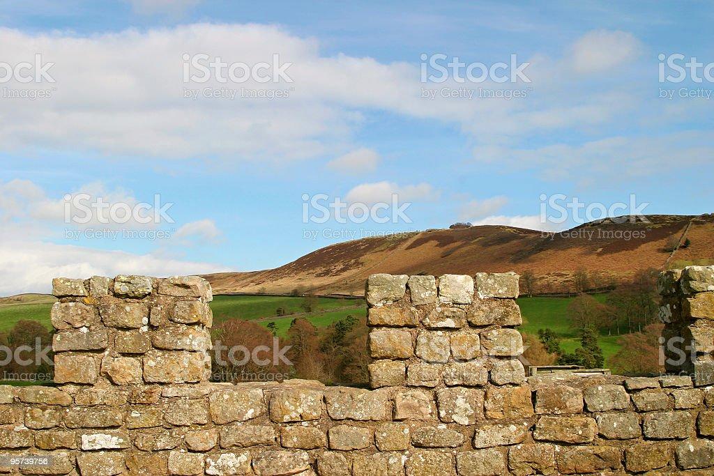 Castle walls and landscape stock photo