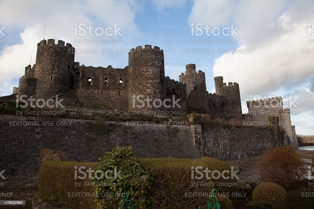 Castle walls and ramparts with circular towers stock photo
