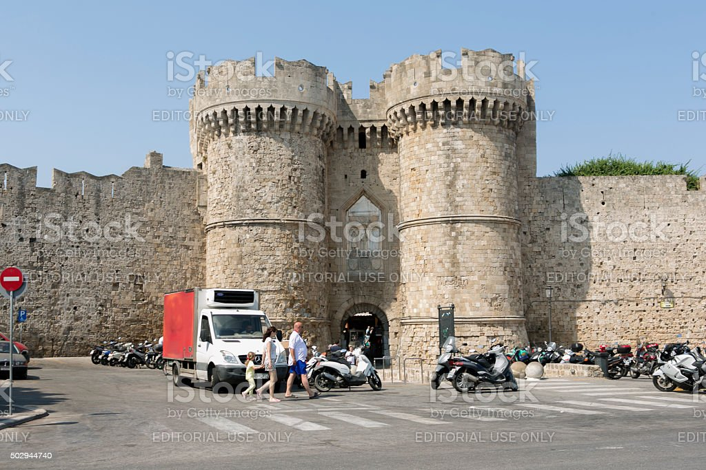 castle walls at coast of rhodes island in greece stock photo