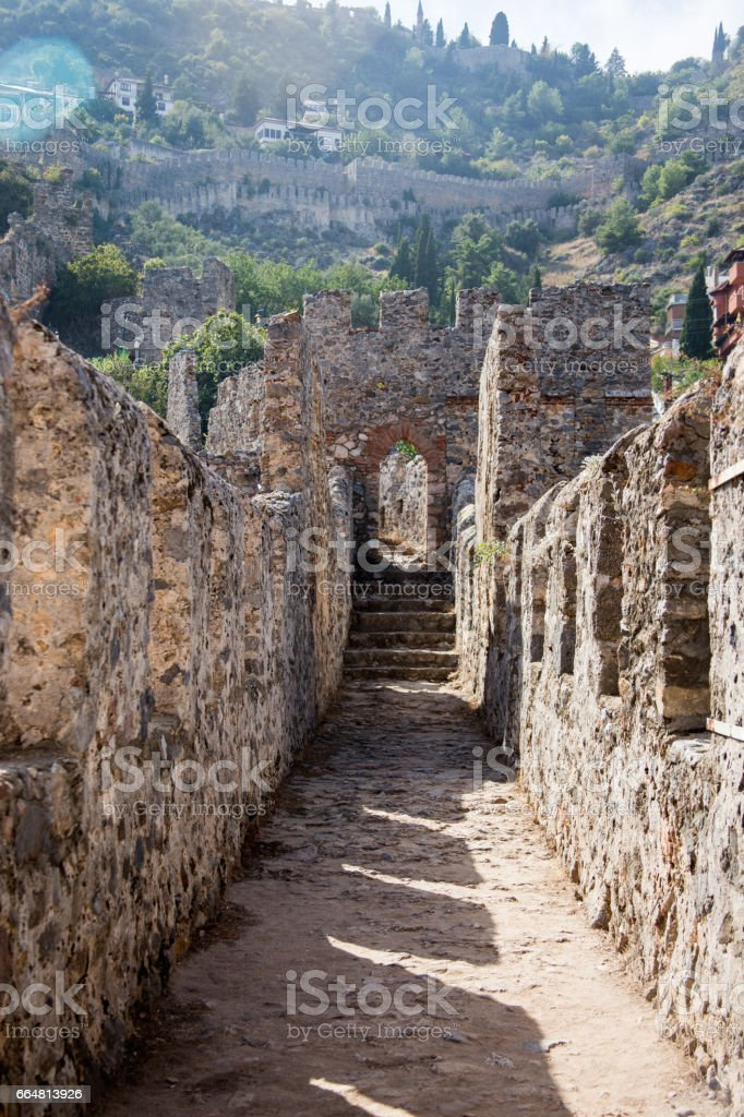 Castle walls of Alanya stock photo