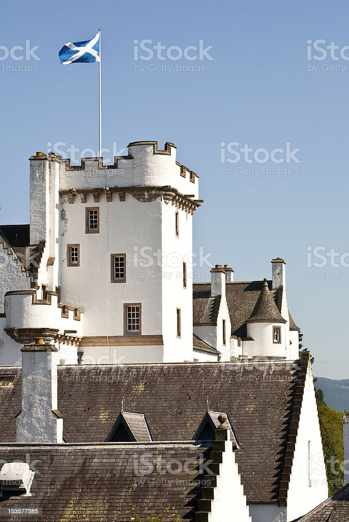 Castle with Scottisch flag stock photo