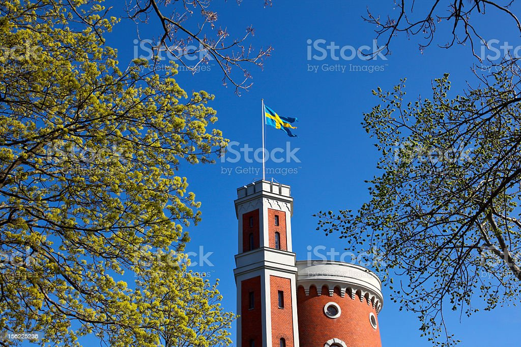Castle with Sweden flag royalty-free stock photo