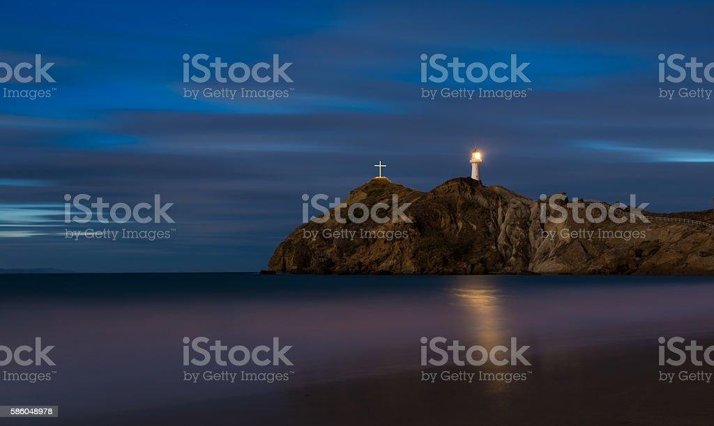 Castlepoint Lighthouse Cross stock photo