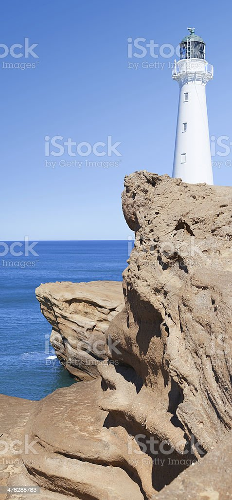 Castlepoint Lighthouse near Wellington New Zealand stock photo