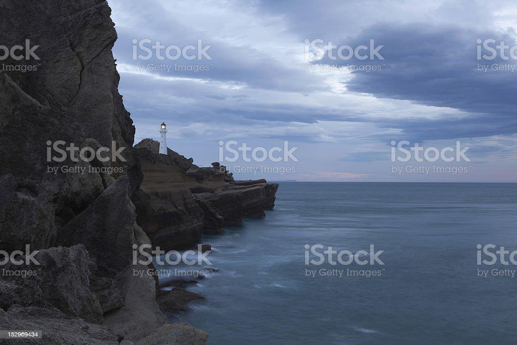 Castlepoint Lighthouse, New Zealand stock photo