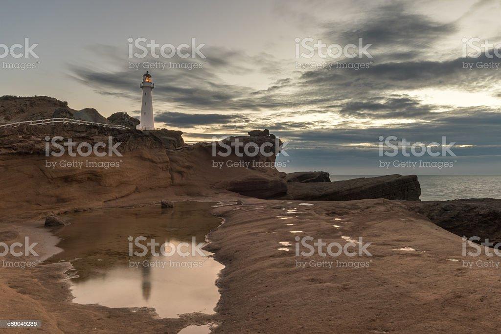Castlepoint Lighthouse on Rock stock photo