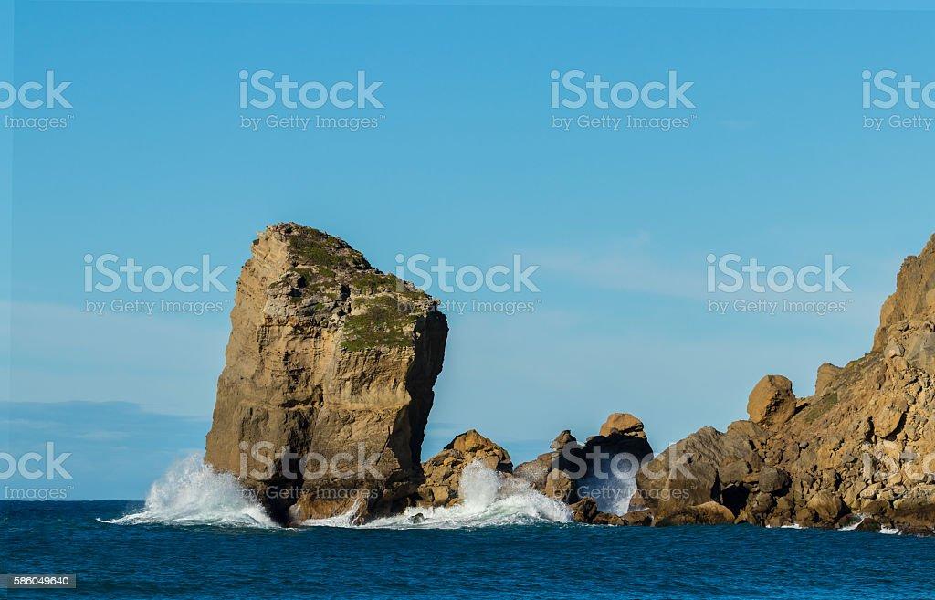 Castlepoint Piller Rock stock photo
