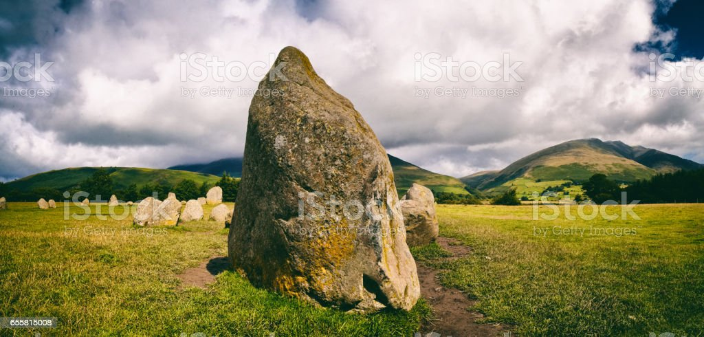 Castlerigg Stone Circle In The English Lake District Panoramic stock photo