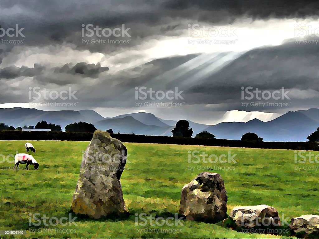 Castlerigg Stone Circle Lake District Art Underpainting stock photo
