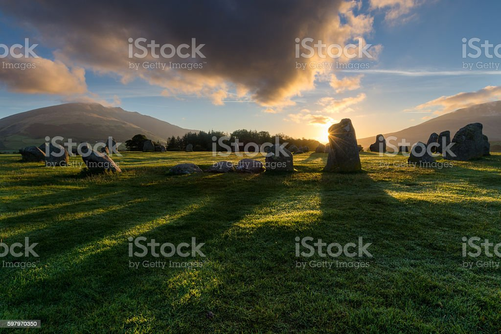 Castlerigg Stone Circle Sunrise In The Lake District. stock photo
