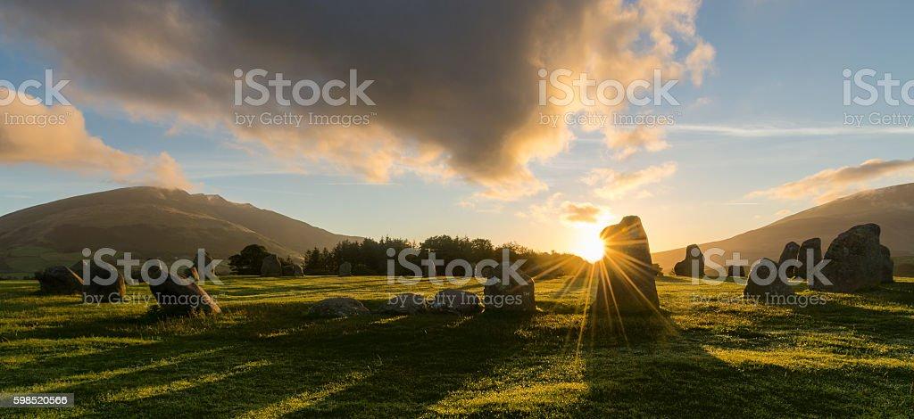 Castlerigg Sunrise, Keswick, Lake District, UK. stock photo